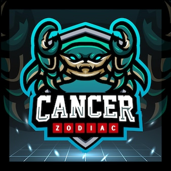 Design do logotipo do mascote do zodíaco canceriano e esport