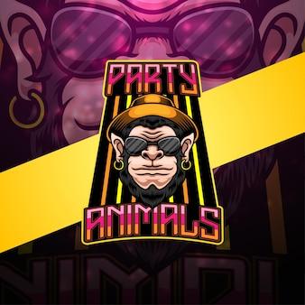 Design do logotipo do mascote dos animais festeiros