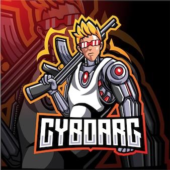 Design do logotipo do mascote dos artilheiros ciborgues e esport