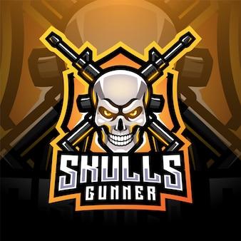 Design do logotipo do mascote dos artilheiros do crânio