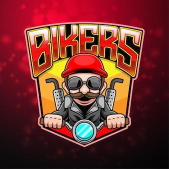 Design do logotipo do mascote dos motociclistas esport