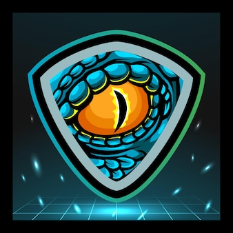 Design do logotipo do mascote dos olhos de réptil Vetor Premium