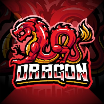 Design do logotipo do mascote dragon esport