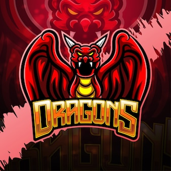 Design do logotipo do mascote dragon esport