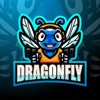 Design do logotipo do mascote dragonfly esport