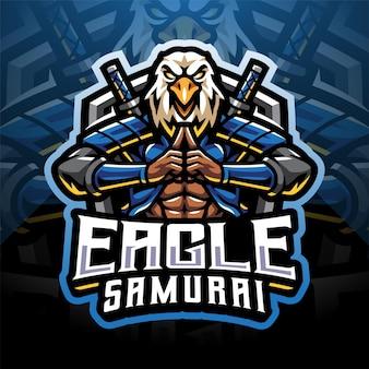 Design do logotipo do mascote eagle samurai esport