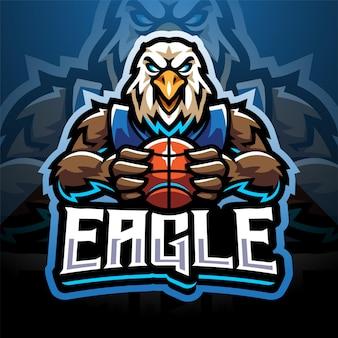 Design do logotipo do mascote eagle sport esport
