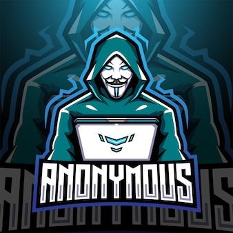 Design do logotipo do mascote esport anônimo