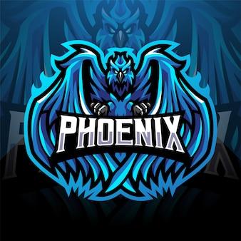 Design do logotipo do mascote esport azul phoenix