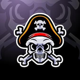 Design do logotipo do mascote esport com caveira de pirata