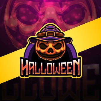 Design do logotipo do mascote esport de halloween