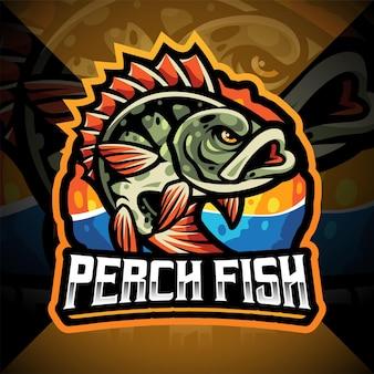 Design do logotipo do mascote esport de peixe poleiro