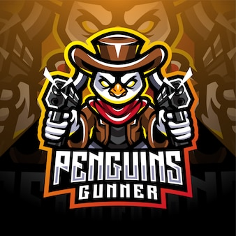 Design do logotipo do mascote esport do artilheiro pinguim