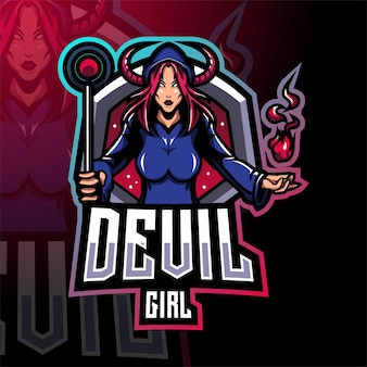 Design do logotipo do mascote esport do devil girl