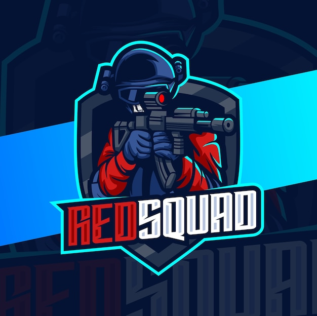 Design do logotipo do mascote esport do esquadrão do exército