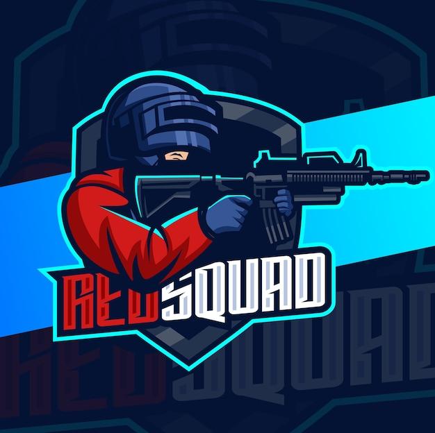Design do logotipo do mascote esport do esquadrão do exército