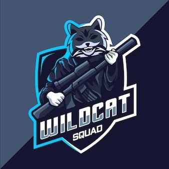 Design do logotipo do mascote esport do esquadrão wildcat