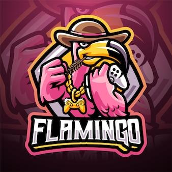 Design do logotipo do mascote esport do flamingo games