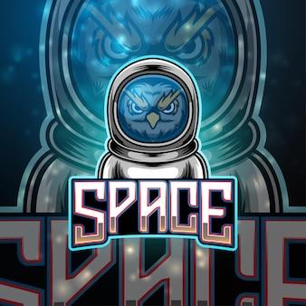 Design do logotipo do mascote esport do space owl