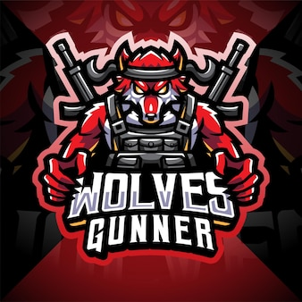 Design do logotipo do mascote esport do wolves gunner