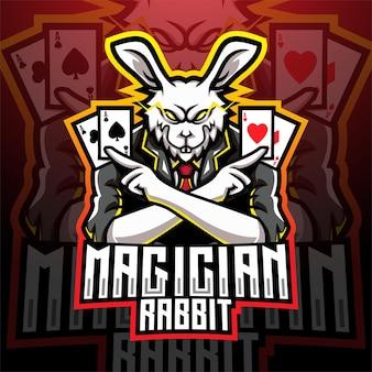 Design do logotipo do mascote esportivo coelho mágico