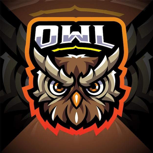Design do logotipo do mascote esportivo com cabeça de coruja