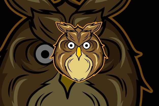 Design do logotipo do mascote esportivo da coruja-chefe
