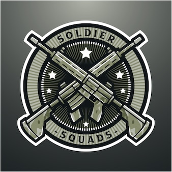 Design do logotipo do mascote esportivo de rifle militar