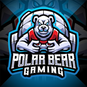 Design do logotipo do mascote esportivo de urso polar