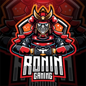 Design do logotipo do mascote esportivo do ronin
