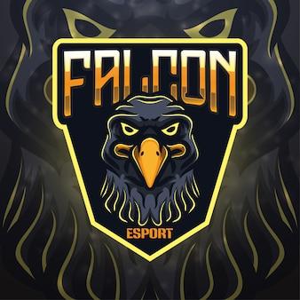 Design do logotipo do mascote esportivo falcon