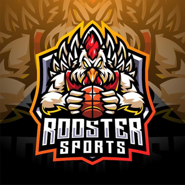 Design do logotipo do mascote esportivo galo