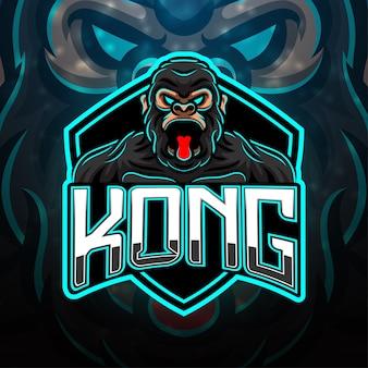 Design do logotipo do mascote esportivo king kong Vetor Premium