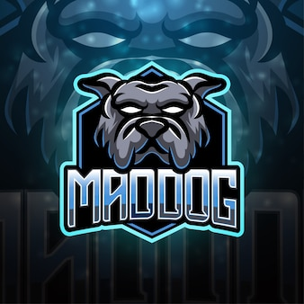 Design do logotipo do mascote esportivo mad dog