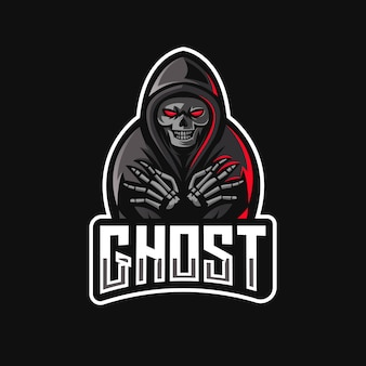 Design do logotipo do mascote fantasma com equipe esport moderna