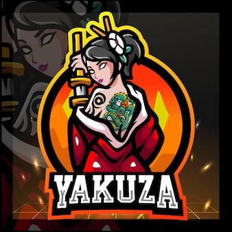 Design do logotipo do mascote feminino da yakuza