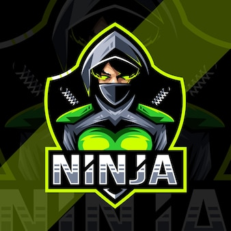 Design do logotipo do mascote feminino ninja