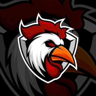 Design do logotipo do mascote frango galo esport