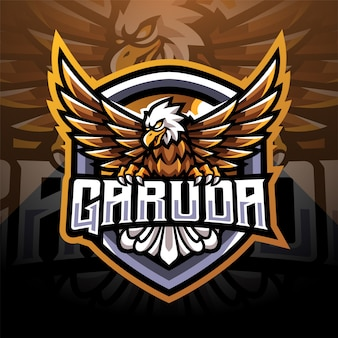 Design do logotipo do mascote garuda esport