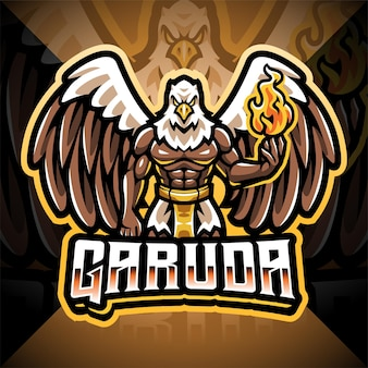 Design do logotipo do mascote garuda esport