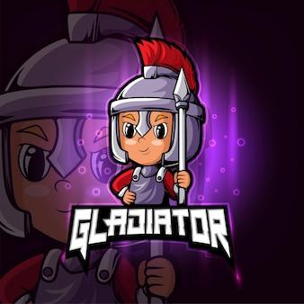 Design do logotipo do mascote gladiator esport