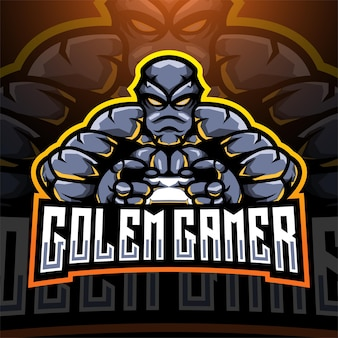 Design do logotipo do mascote golem gamer esport