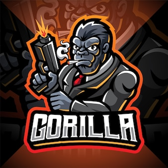Design do logotipo do mascote gorilla gunners esport