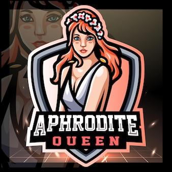 Design do logotipo do mascote grego afrodite esport