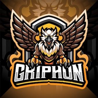 Design do logotipo do mascote gryphon esport