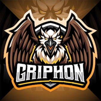 Design do logotipo do mascote gryphon esport