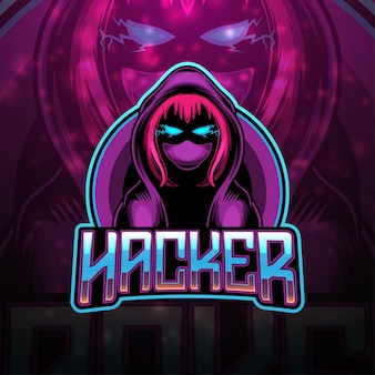 Design do logotipo do mascote hacker esport