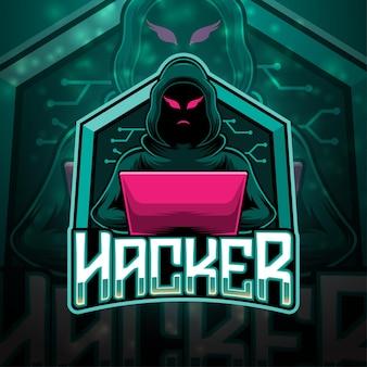Design do logotipo do mascote hacker esport Vetor Premium