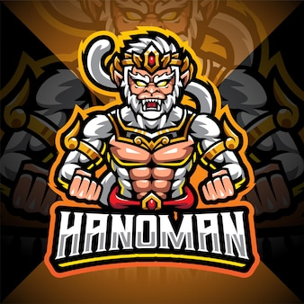 Design do logotipo do mascote hanoman esport
