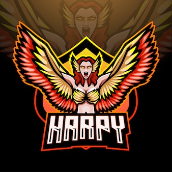 Design do logotipo do mascote harpy esport